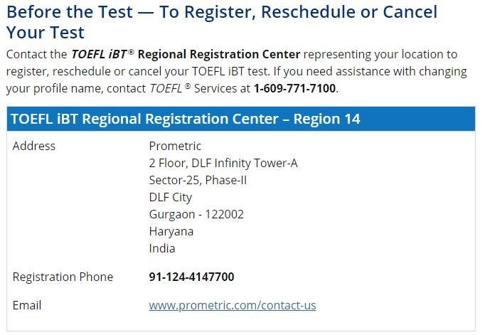 TOEFL Registration IBT Registration Center